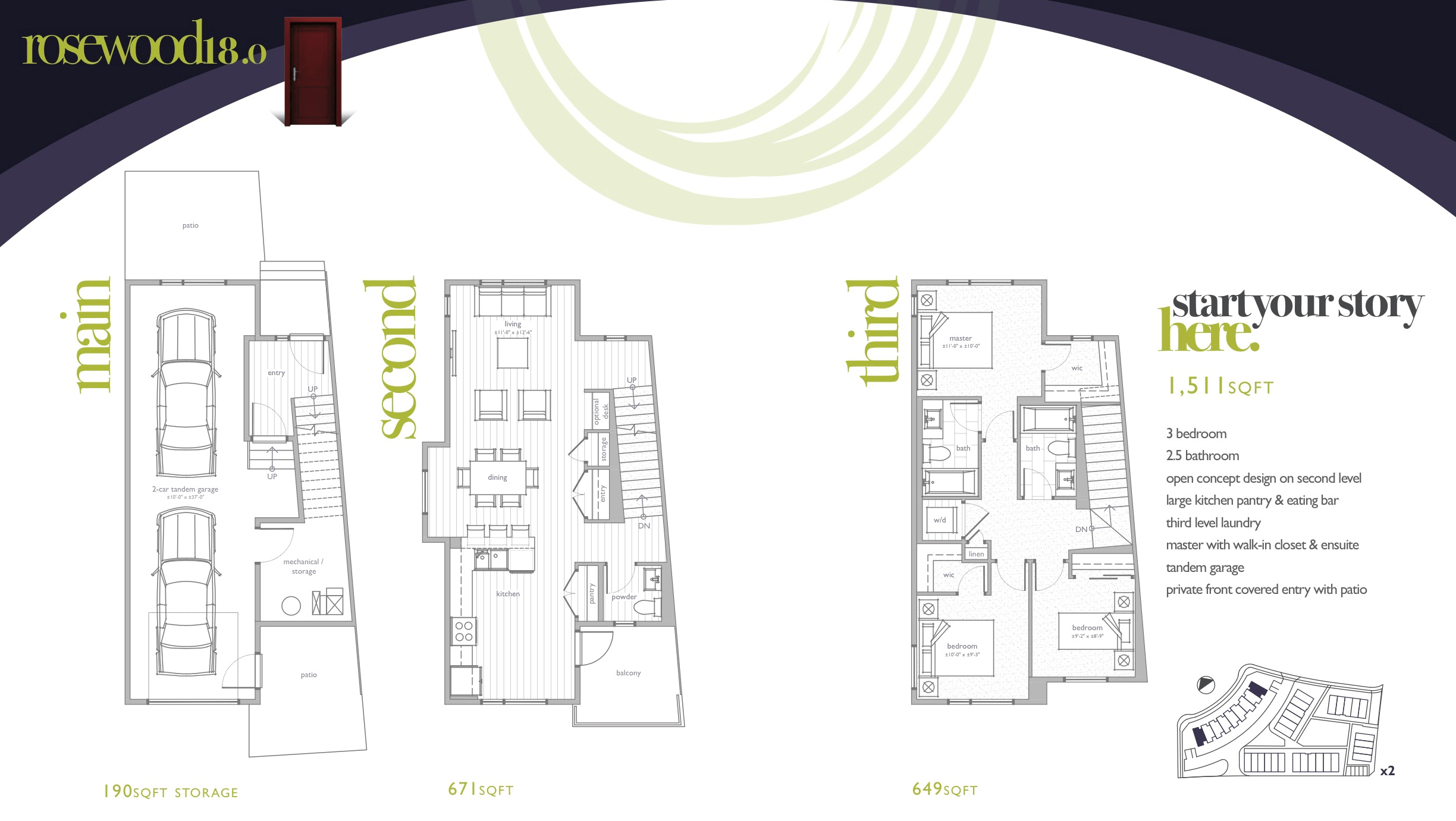 The Best Townhome Designs for Multi-Generational Living Rosewood18.o Floorplan Image